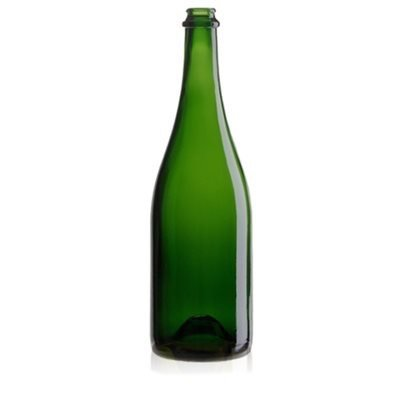 Beer and Wine Green Champagne Bottle, w/punt - 750 ml