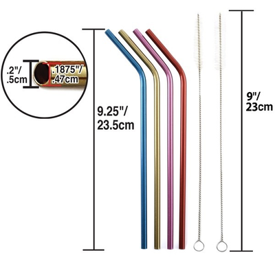 Norpro Colorful Metal Drinking Straws with Brush - 4 pack