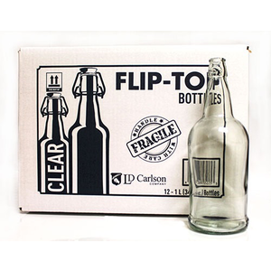 Beer and Wine Clear Flip Top 1 L Bottles - 12/case