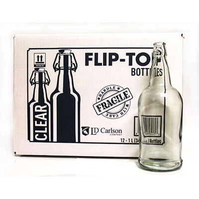 Beer and Wine Clear Swing Top 1 L Bottles - 12/case