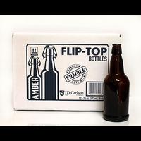 EZ-Cap Amber Swing Top 16 oz Bottles - 12/case