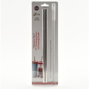 Home and Garden Stainless Steel Metal Drinking Straws with Brush - 2 pack