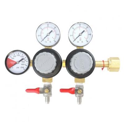 "Taprite Taprite Primary Dual Body CO2 Regulator - 1/4"" MFL Shutoffs"