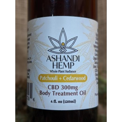 Home and Garden Ashandi CBD Hemp Patchouli & Cedarwood Body Oil - 4 oz