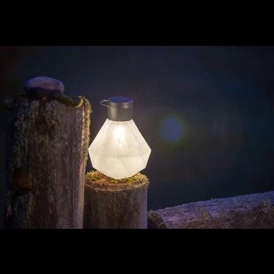 Home and Garden Solar Glass Gem Lantern - Milk