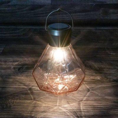 Home and Garden Solar Glass Gem Lantern - Rose