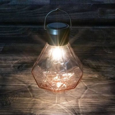 Soji Solar Glass Gem Lantern - Rose