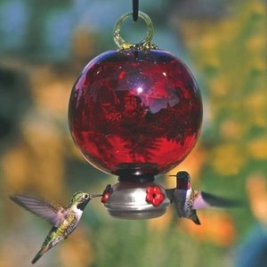 Home and Garden Parasol Dew Drop Hummingbird Feeder - Ruby Red