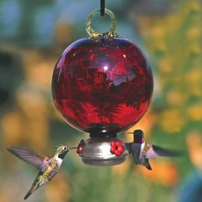 Home and Garden Parasol Dew Drop Hummingbird Feeder - Ruby Red