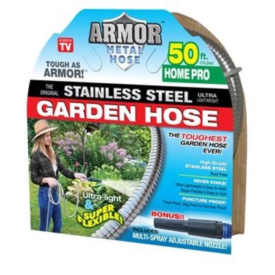 Outdoor Gardening Armor Stainless Steel Metal Hose - 50 ft