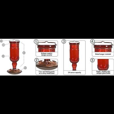 Home and Garden Red Antique Bottle Hummingbird Feeder - 24 oz