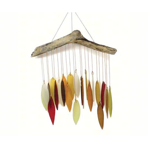 Home and Garden Glass Leaf and Driftwood Chime