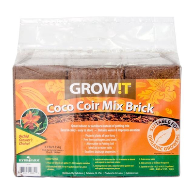 Hydrofarm GrowIt Coco Coir Brick - 3 pack