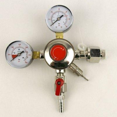 Beer and Wine Dual Gauge CO2 Regulator- One 5/16 inch barbed Shutoff