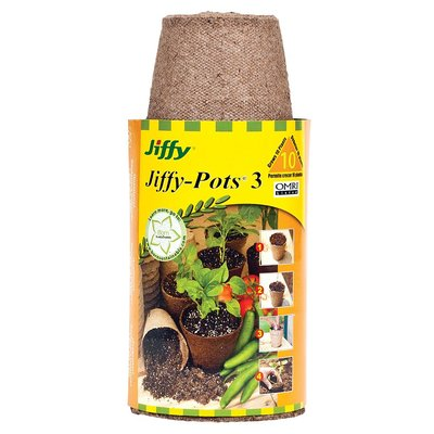 Outdoor Gardening Jiffy Round Peat Pot 10 pack - 3 inch