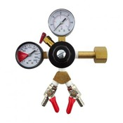 Beer and Wine Dual Gauge CO2 Regulator - Two 1/4 inch MFL Shutoffs