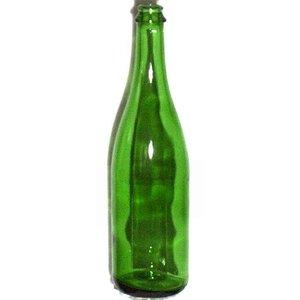 Beer and Wine Vineyard Green Champagne Bottle  - 750 ml - no punt - cork/crown finish