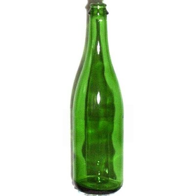 Beer and Wine Vineyard Green Champagne Bottle  - 750 ml - no punt - cork/crown finish
