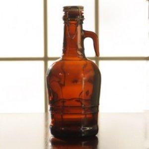Beer and Wine Amber Flip-Top Growler (Glass Handle), 2 L