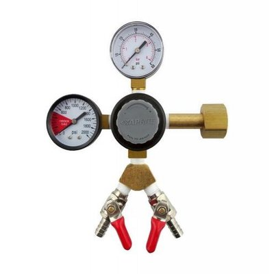"Beer and Wine TapRite Dual Guage Co2 Regulator - Two 1/4"" MFL Shutoffs"