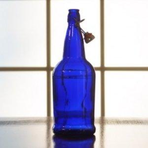 Beer and Wine Blue EZ Cap Swing Top 1 L Bottles - 12/case
