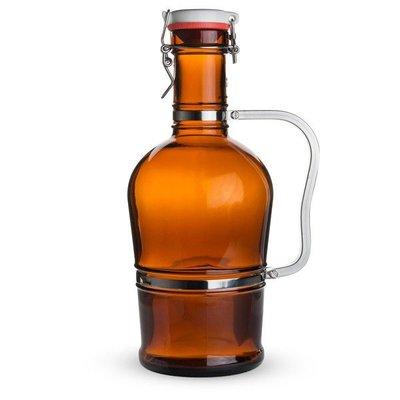 Beer and Wine Amber Flip-Top Growler (Metal Handle), 2 L