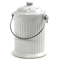 Outdoor Gardening White Ceramic Counterop Compost Crock