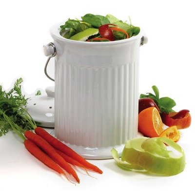 Norpro White Ceramic Counterop Compost Crock