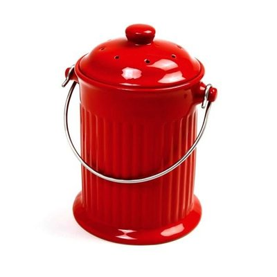 Outdoor Gardening Red Ceramic Counterop Compost Crock