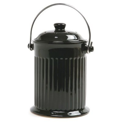Norpro Black Ceramic Countertop Compost Crock