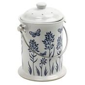 Norpro Blue & White Ceramic Compost Crock