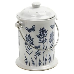 Norpro Blue & White Ceramic Compost Crock
