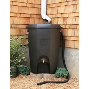 Outdoor Gardening Black Moby Rain Barrel - 65 Gallon