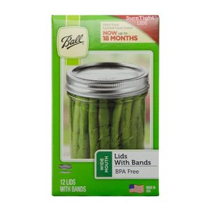 Urban DIY Ball Widemouth Bands & Lids-12 pack