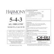 Outdoor Gardening Harmony Organic Fertilizer - 5-4-3 - 50 lb