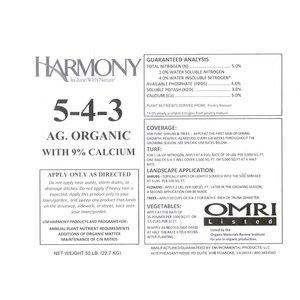 Harmony Harmony Organic Fertilizer - 5-4-3 - 50 lb