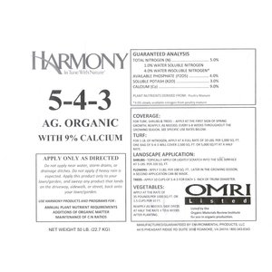Outdoor Gardening Harmony Organic Fertilizer - 5-4-3 - 50 lb