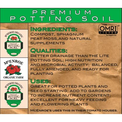 Outdoor Gardening McEnroe Premium Potting Soil - 1/20 cy