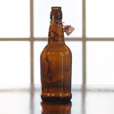 Beer and Wine Amber Flip Top 16 oz Bottle - Single