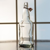 Beer and Wine Clear Swing Top 1 L Bottle - Single