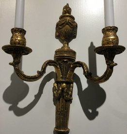 "Brass Candle Wall Sconce 15-1/2"" (2 candles)"