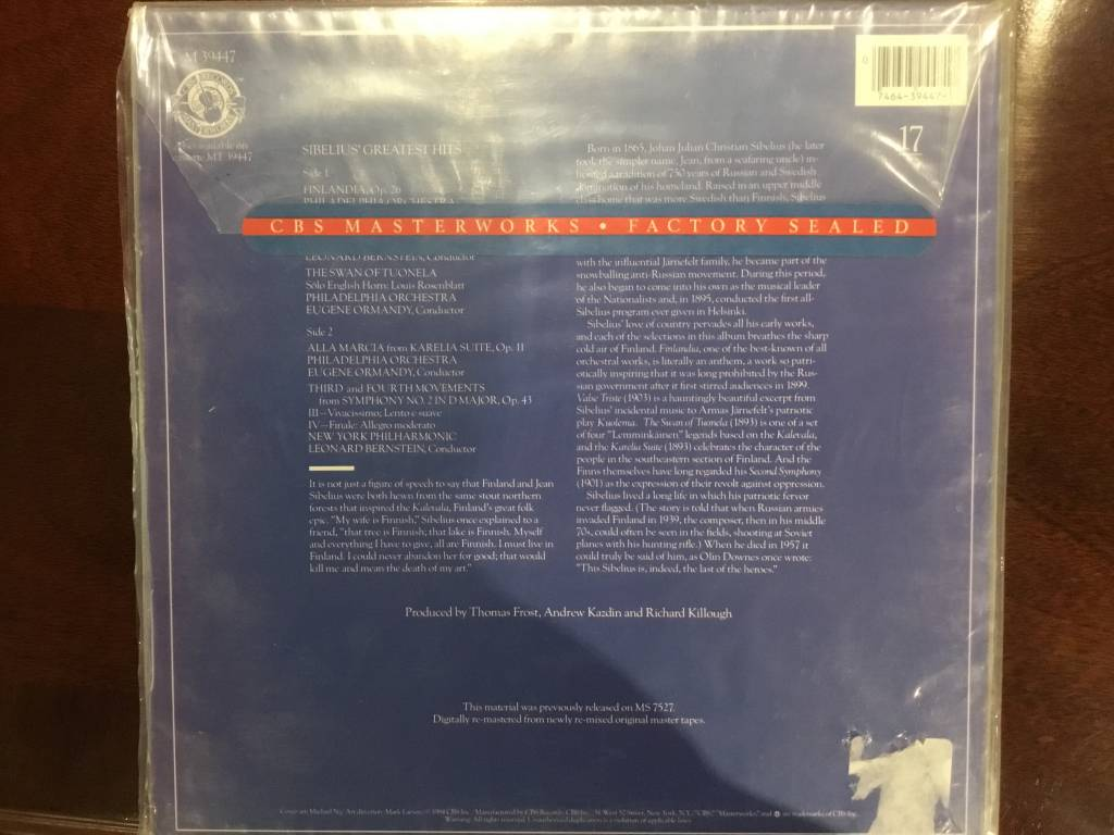 LP - Greatest Hits - Sibelius - Factory Sealed