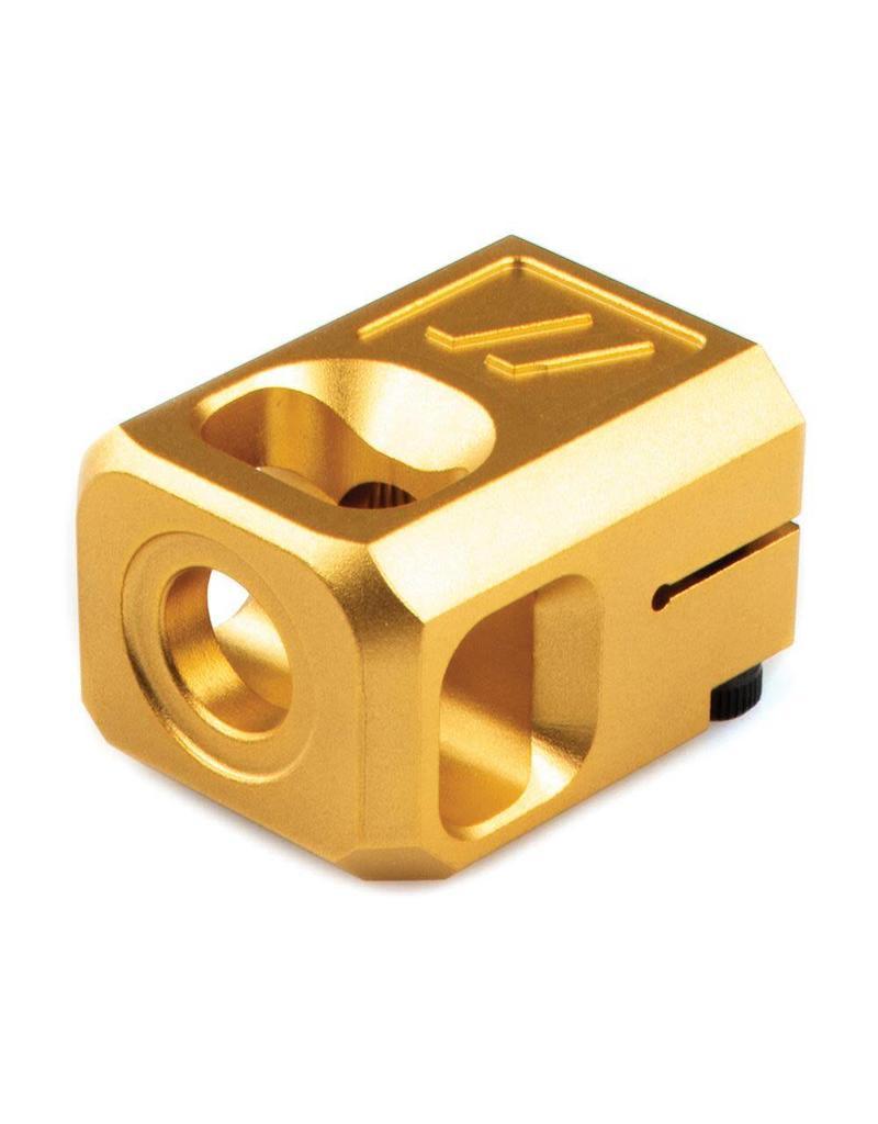 Zev Technologies Pro Compensator V2 9mm Luger Threaded 1/2x28 Billet Aluminum Hard Coat Anodized Gold Color
