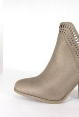 Side Cutout Wooden Heel Bootie
