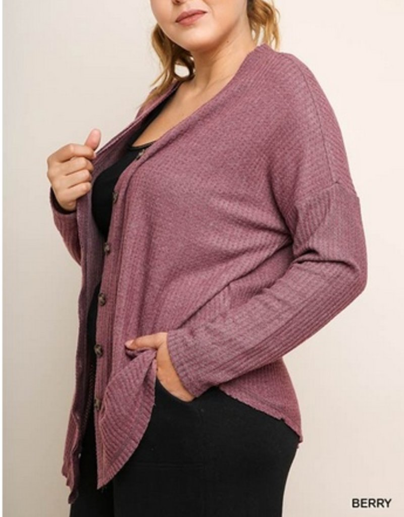 Long Sleeve Waffle Knit Button Front Cardigan With Scoop Hem