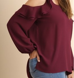 Puff Sleeve Top With Open Ruffled Shoulders And Side Slit