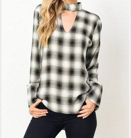 Checkered Choker Top With Peekhole