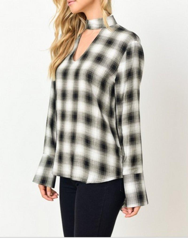 Checkered Choker Top With Peekhole