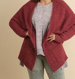 Open Front Oversized Sweater W/Pockets