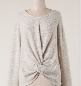 Textured Twist Front Sweater